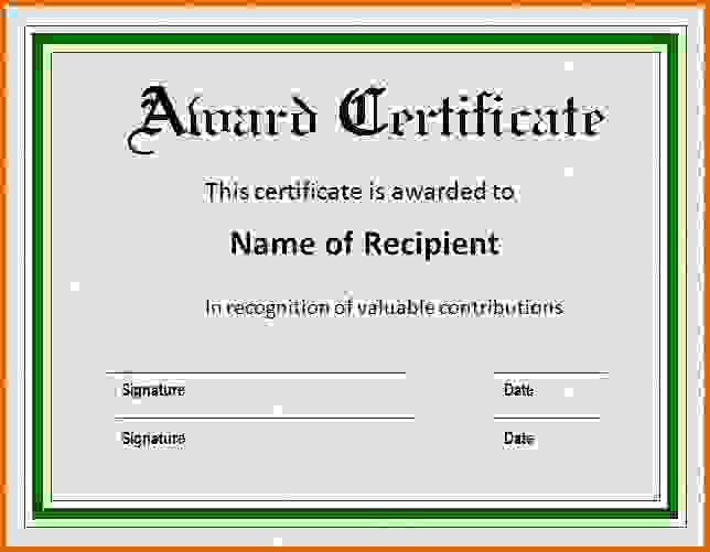 award certificate template wordReference Letters Words | Reference ...