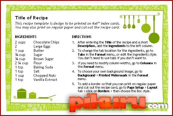 Custom Card Template » Word Recipe Card Template - Free Card ...
