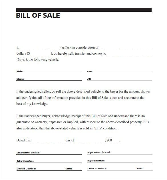 8+ Auto Bill of Sale - Free Sample, Example, Format Download ...