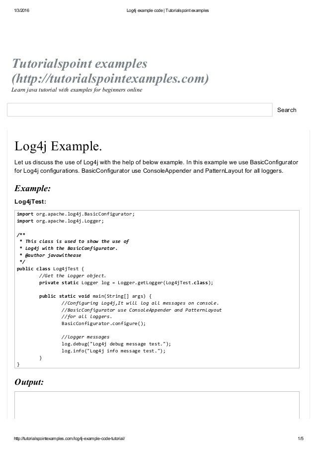 Log4j example code tutorialspoint examples