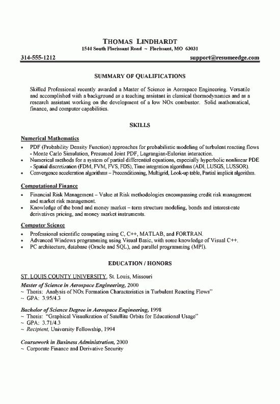 Engineer Resume Example