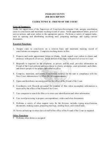 INGHAM COUNTY JOB DESCRIPTION VENDOR FILE CLERK ...