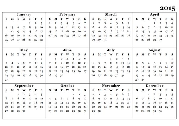 2015 Yearly Calendar Template 07 - Free Printable Templates