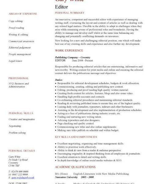 Astounding Editor Resume 2 CV Sample Overseeing The Layout And ...