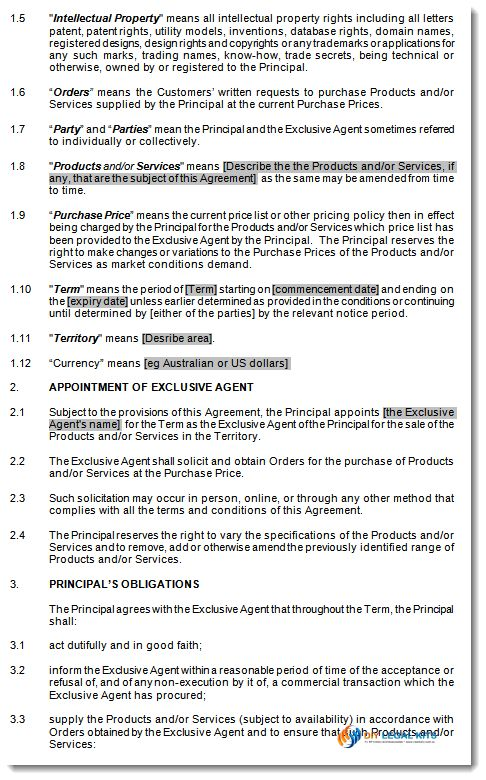 Exclusive Agency Agreement, Sole Agents Contract