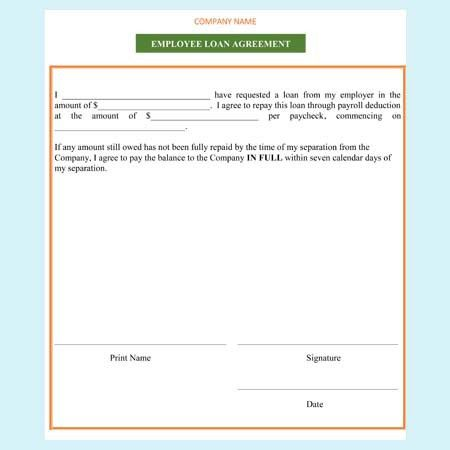 Employee Loan Agreement Templates - Free Examples and Formats