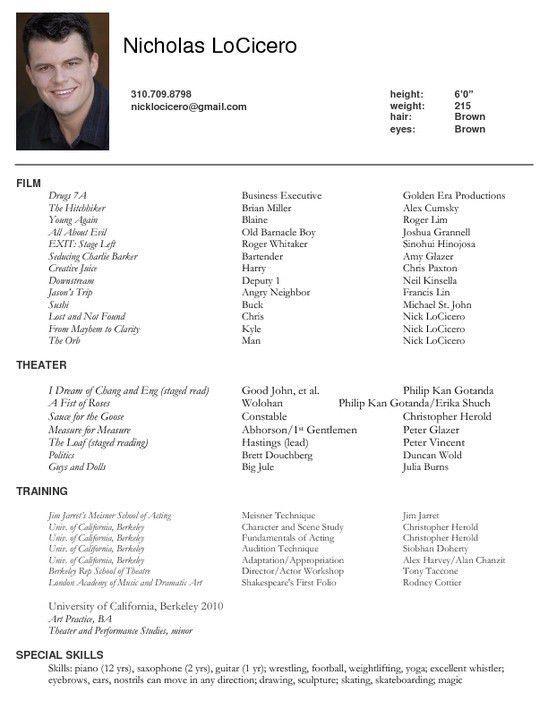 Download Resume For Actors | haadyaooverbayresort.com