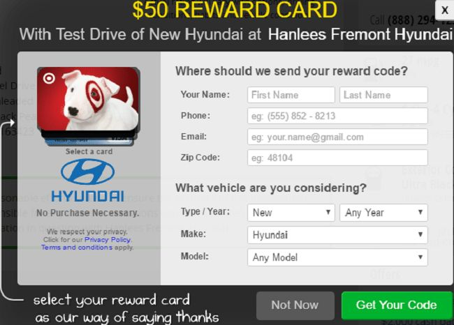 Hyundai $50 Visa Gift Card Test Drive Offer