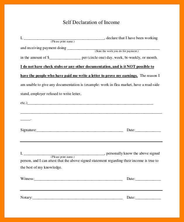 5+ self declaration form sample | simple cv formate