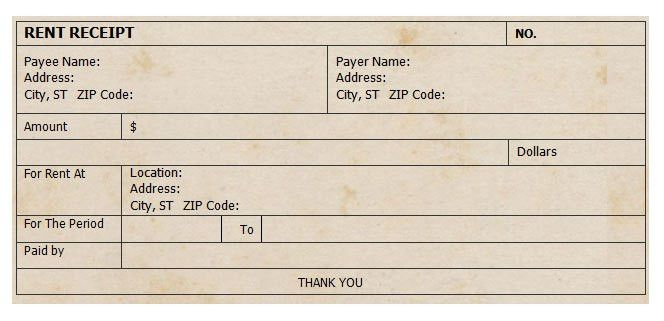 Receipt For Rent Payment