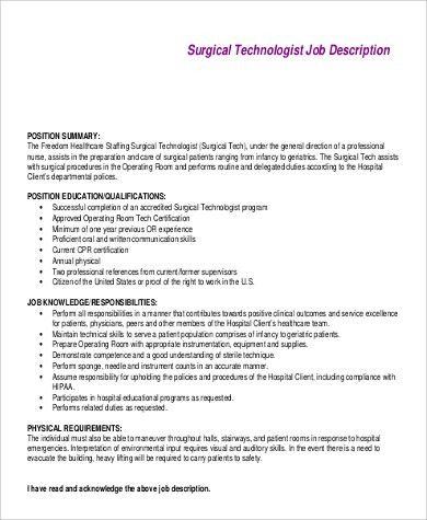 surgical technologist job description