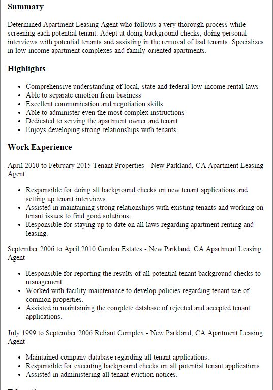 Vibrant Inspiration Leasing Agent Resume 1 Professional Apartment ...
