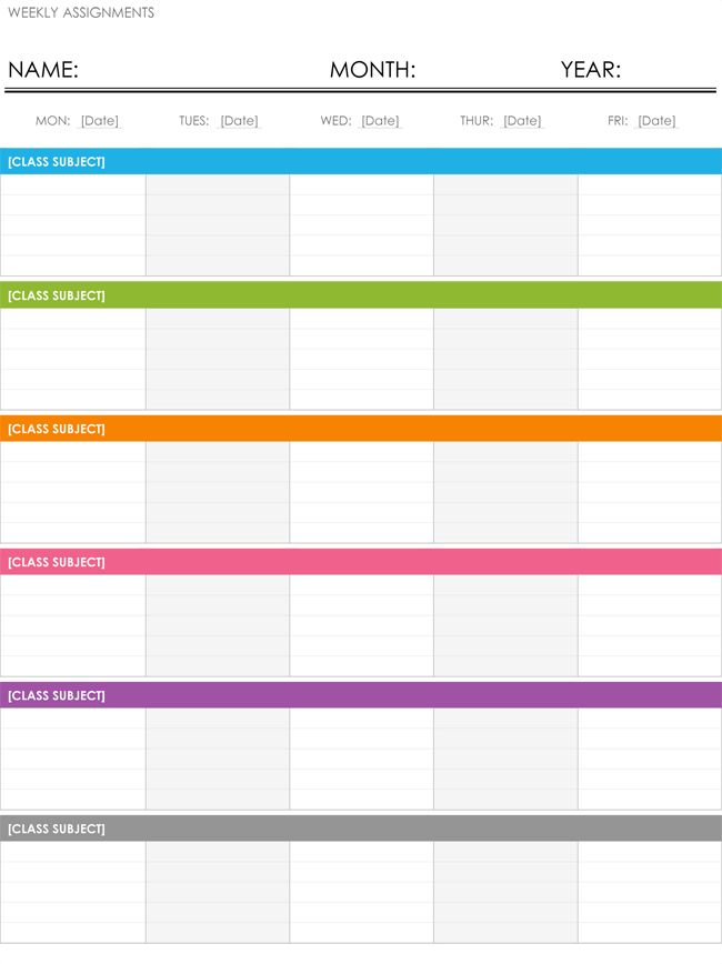 Weekly Schedule Template - Free Schedule Makers