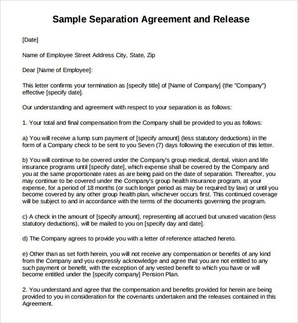 Sample Business Separation Agreement - 5+ Free Documents Download ...