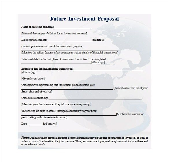 investment proposal template
