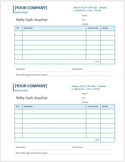 Petty Cash Voucher Templates for MS Word | Word & Excel Templates