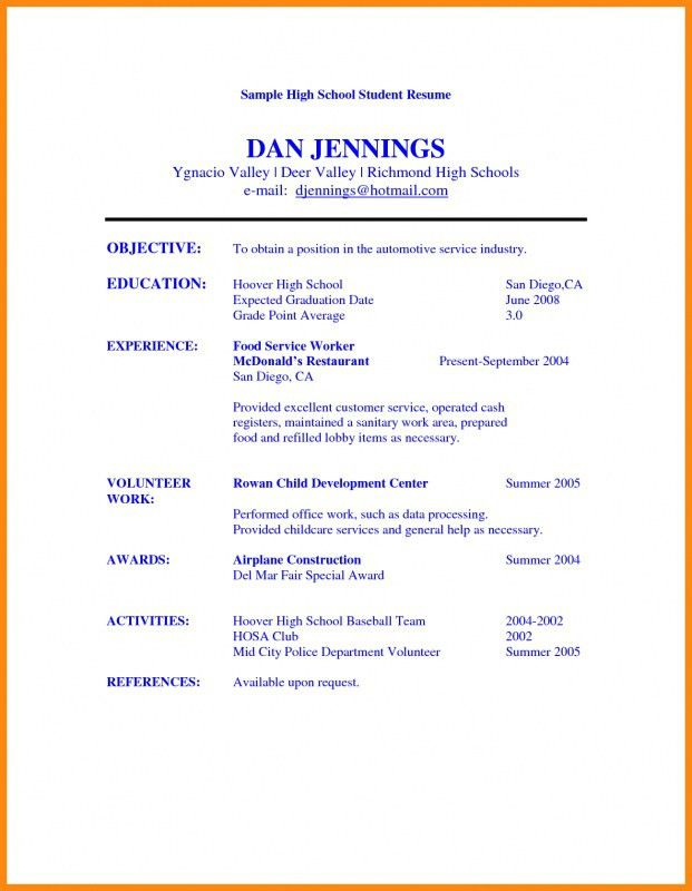 Example Of A High School Student Resume | Samples Of Resumes