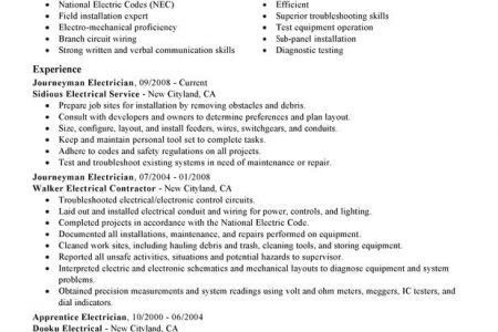 Foreman Journeyman Electrician Resume Samples - Reentrycorps