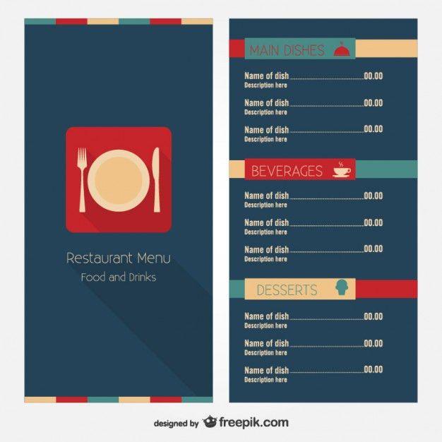 Modern restaurant menu template Vector   Free Download