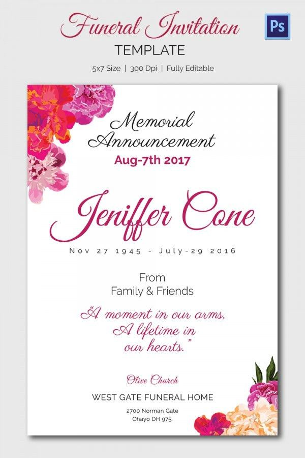 Memorial Service Invitation Cards - Festival-tech.Com