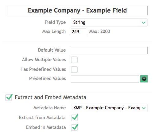Add an XMP Metadata Definition using the standard XMP Namespace to ...
