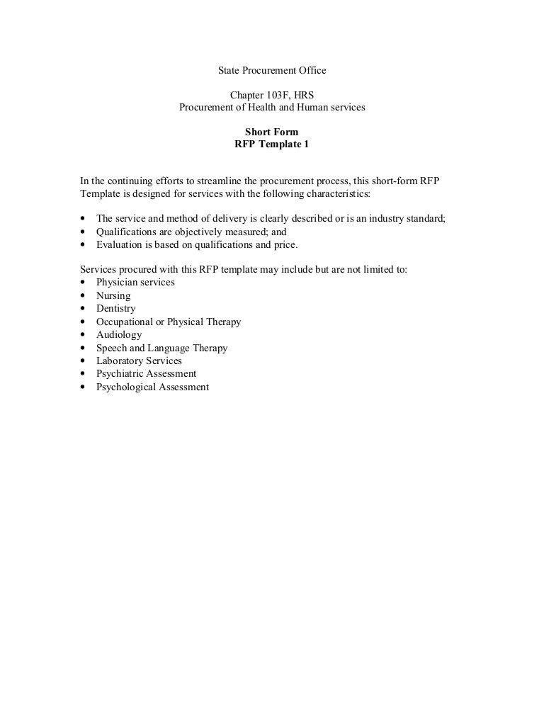 Short-Form RFP Template 1 (Rev. 4/06)