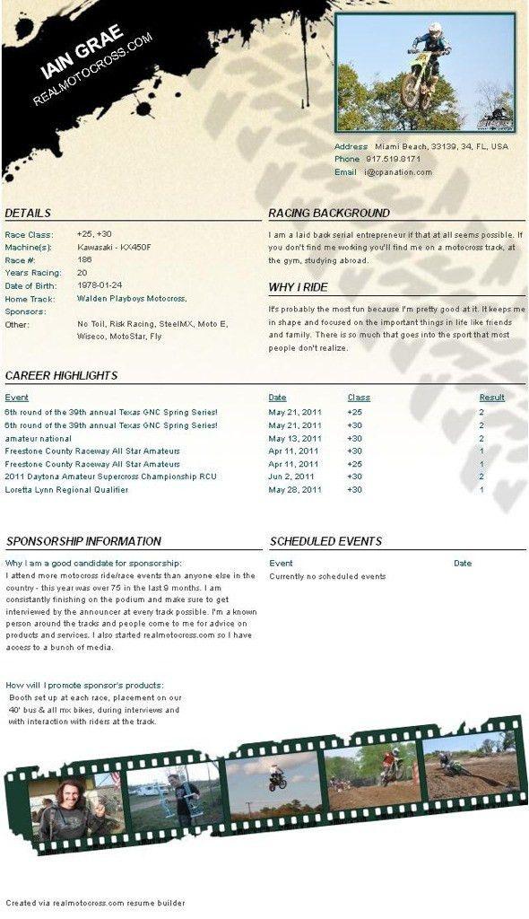 Motocross Resume Sample For Sponsorship - Contegri.com