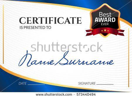 Certificate Business Entertainment Design Template Stock Vector ...