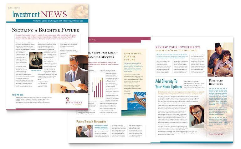 Investment Company Newsletter Template - Word & Publisher