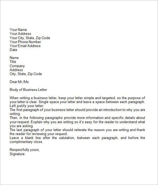 7+ Business Letter Sample
