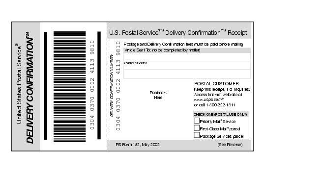 Shows Form 152, Delivery Confirmation receipt.