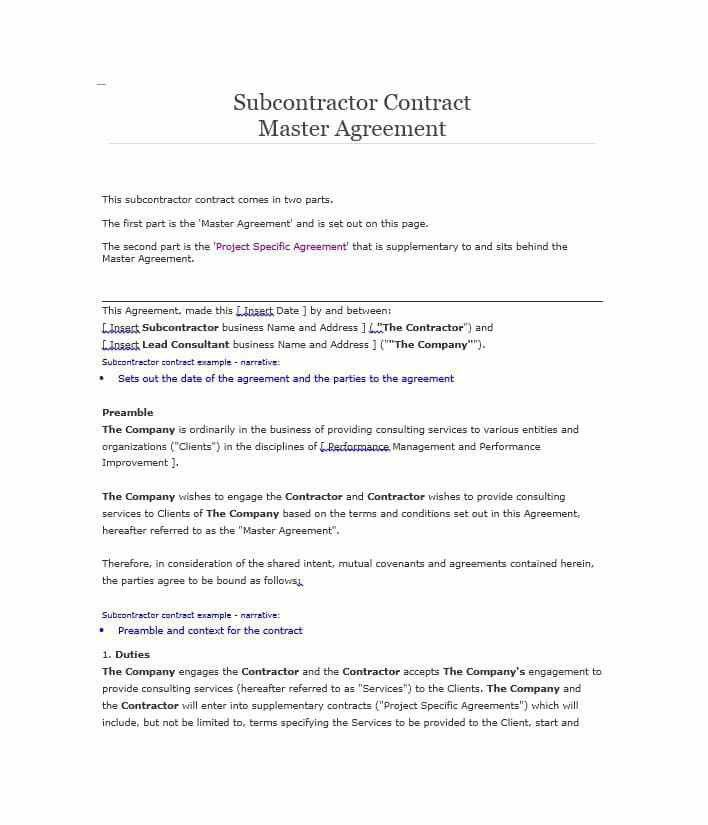 Subcontractors Agreement Template  CityEsporaCo
