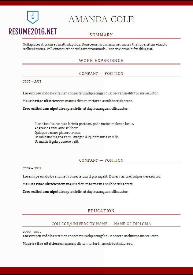 Free Chronological Resume Template. Free Chronological Resume ...