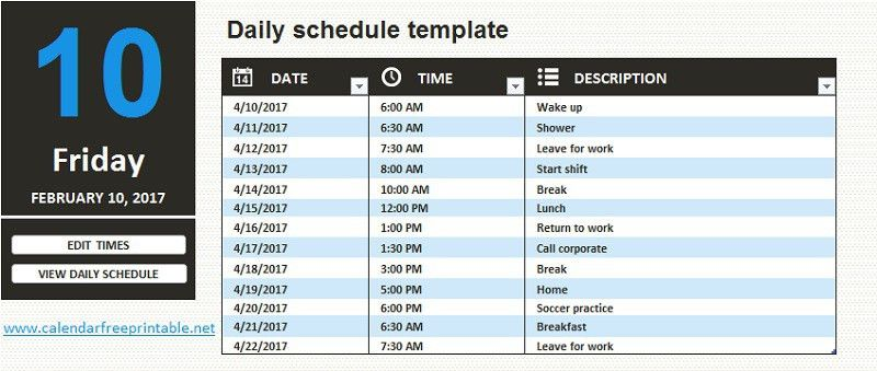 Daily Schedule Template Word | calendar free printable