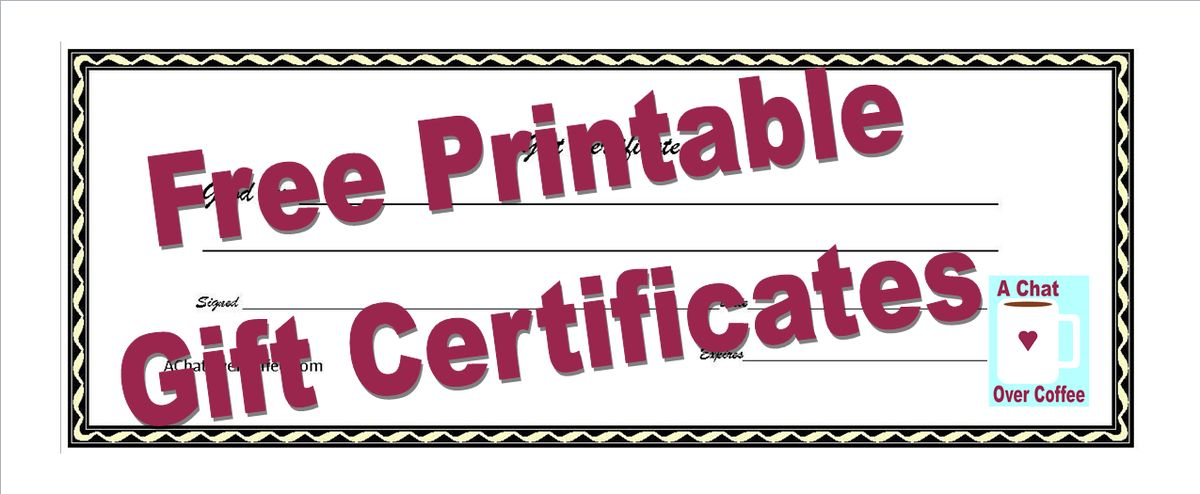 Free Printable Gift Certificates | A Chat Over Coffee