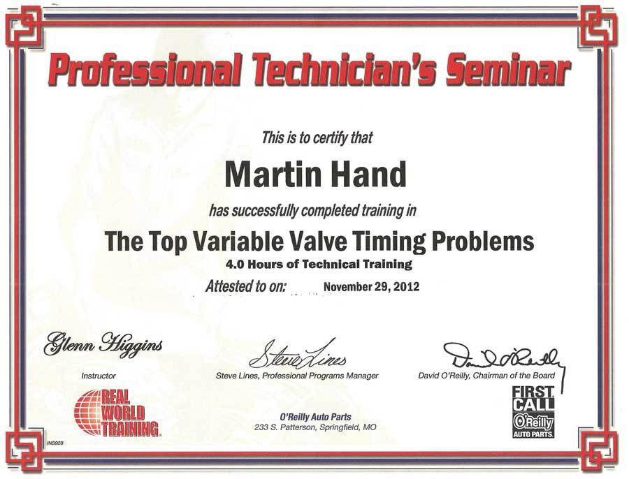 Variable Valve Timing Training Certification | MDH MOTORS