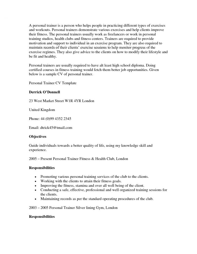 Entry Level Personal Trainer Resume Examples Personal Trainer ...