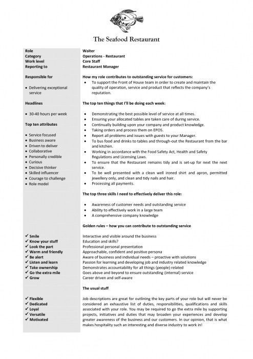 Amazing Waitress Job Description Resume | Resume Format Web