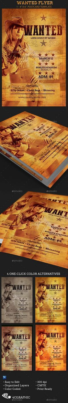 The Country Western Party Flyer Photoshop Template is great for ...
