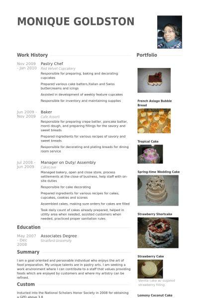 Pastry Chef Resume samples - VisualCV resume samples database
