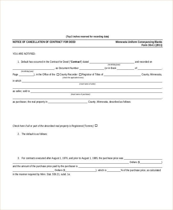 Sample Cancellation of Contract Forms - 8+ Free Documents in PDF, Doc