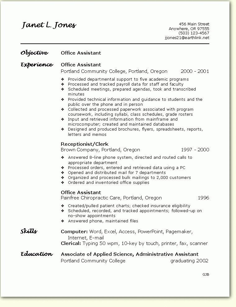 12 Sample Office Assistant Resume | RecentResumes.com