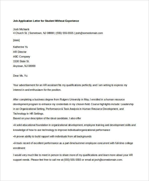 9+ Sample Job Application Letters for Student - Free Sample ...