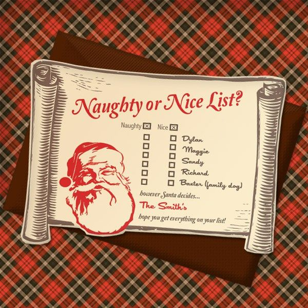 Christmas Invitation Templates with Naughty or Nice List ...