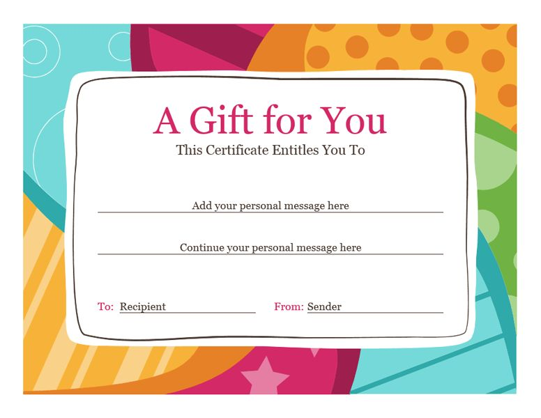 Birthday gift certificate (Bright design) - Office Templates