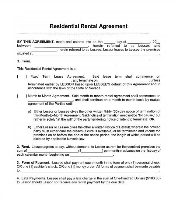 Sample Month To Month Rental Agreement. Sample Month Rental ...
