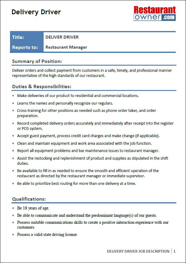 Restaurant Delivery Driver Job Description