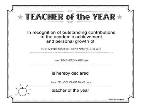Education World: Teacher of the Year Certificate Template