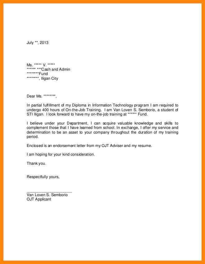 4+ application letter sample for ojt | nurse resumed