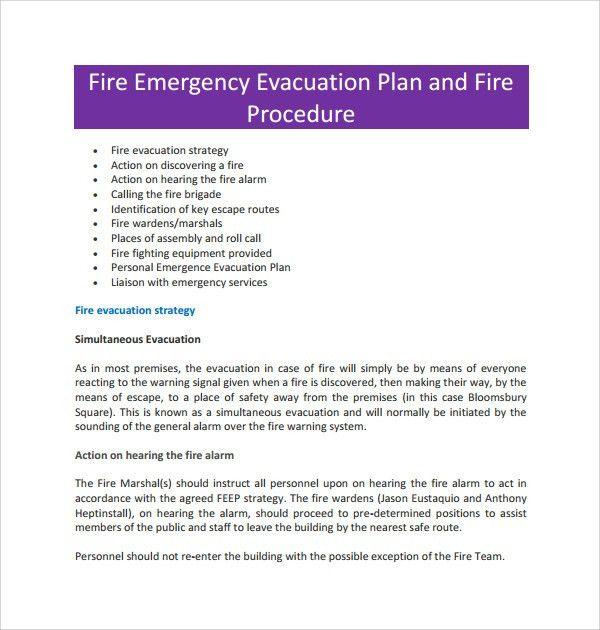 Sample Evacuation Plan Template - 9+ Free Documents in PDF, Word